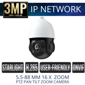 3mp mini IP PTZ Weatherproof with IR & 16x Zoom