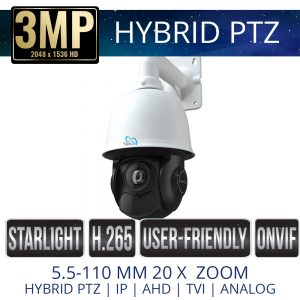 3mp Hybrid PTZ Weatherproof with IR & 20x Zoom