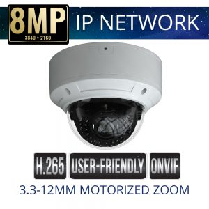 8mp IP Vandal Dome Camera Motorized Zoom Weatherproof