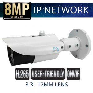 8mp IP Bullet Camera Motorized Zoom Weatherproof