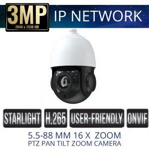 3mp mini IP PTZ Weatherproof with IR & 16x Zoom