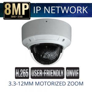 8mp IP Vandal Dome Camera Motorized Zoom Weatherproof